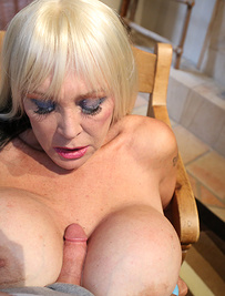 Sexy milf shelly gave titty fuck and jerk off young stud